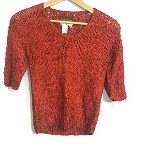 vintage ribbon sweater red v neck Pullover